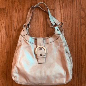 "9x11"" tan leather Coach purse"